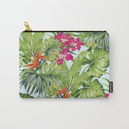Bird of Paradise Greenery Aloha Hawaiiana Rainforest Tropical Leaves Floral Pattern Carry-All Pouch
