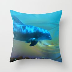 Happy Dolphin Throw Pillow