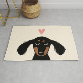 Dachshund Love | Cute Longhaired Black and Tan Wiener Dog Rug