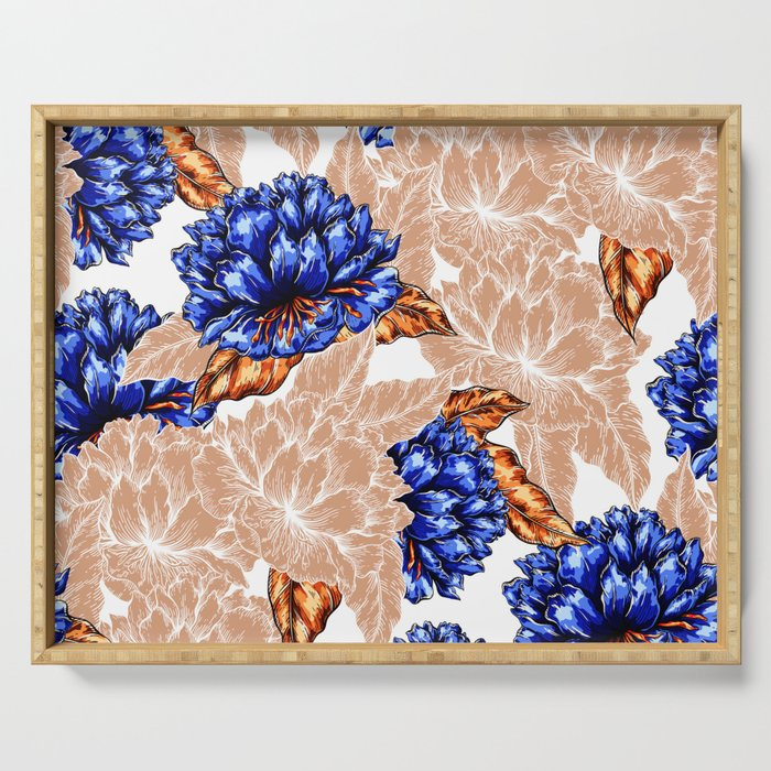 Floral Background Serving Tray