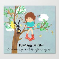 reading Canvas Prints featuring reading by Elisandra