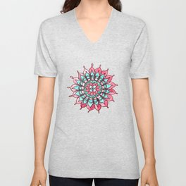 Pink and Turquoise Mandala Watercolor Painting Unisex V-Neck