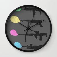 guns Wall Clocks featuring Bubble Guns by Tobe Fonseca