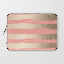 Painted Stripes Tahitian Gold on Coral Pink Laptop Sleeve