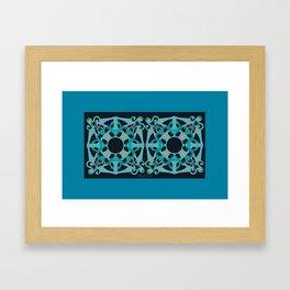 Support Love Mandala x 2 - Teal/Black Framed Art Print