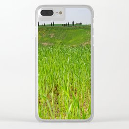 Beautiful spring landscape in Tuscany countryside, Italy. focus on foreground Clear iPhone Case