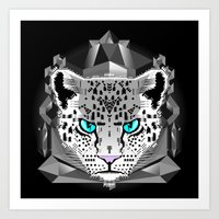 snow leopard Art Prints featuring Snow Leopard by chobopop