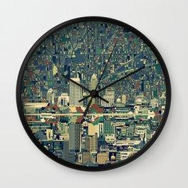 indianapolis city skyline green Wall Clock