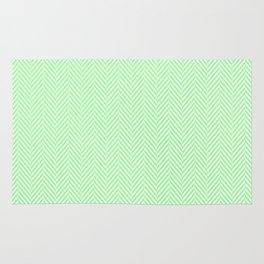 Classic Mint Green & White Herringbone Pattern Rug