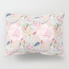 Watercolor Roses and Blush French Script Pillow Sham