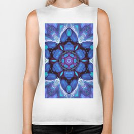 Digital Art Bue and Purple Kaleidoscope - Geometric Colorful Biker Tank