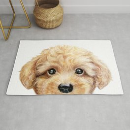 Toy poodle Dog illustration original painting print Rug