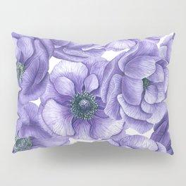 Violet anemone flowers watercolor patter Pillow Sham