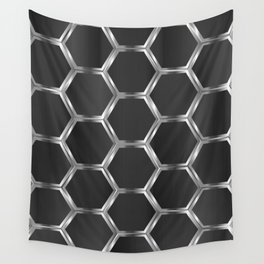 Gray and silver octagon pattern Wall Tapestry