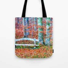 Wooden park bench in dry leaves Tote Bag