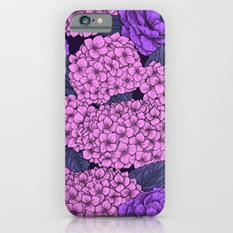 Peony and hydrangea in pink and violet iPhone Case