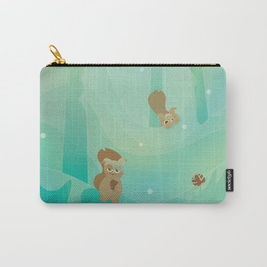 Hide and Seed (Cartoon Squirrels, Mint Green Snow Forest) Carry-All Pouch