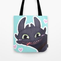 toothless Tote Bags featuring Toothless by enerjax