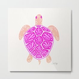 Sea Turtle – Pink Palette Metal Print