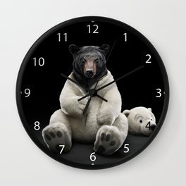 Black bear wearing polar bear costume Wall Clock