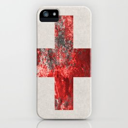 Medic - Abstract Medical Cross In Red And Black iPhone Case