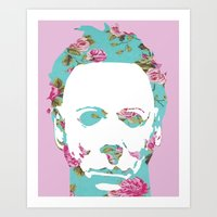 michael myers Art Prints featuring Halloween Floral Michael Myers by hellosailortees
