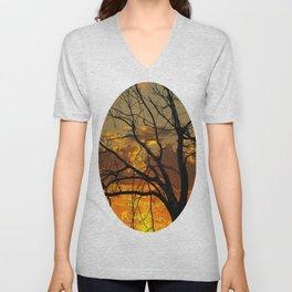 Sunset Tree, California Unisex V-Neck