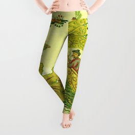 Chartreuse Chinoiserie Leggings