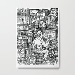 Quarantine heads on synthesizer production Metal Print