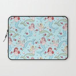 Mermaids and Roses on Aqua Laptop Sleeve