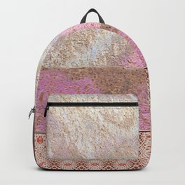 Industrial Pink Painted Cement and Graphic Snake Skin Backpack