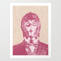 c3po Art Prints featuring C3PO by NJ-Illustrations