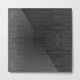 Alligator Black Leather Metal Print