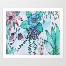 Botanical Blues  Floral Watercolor Art Print