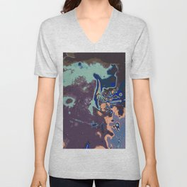purple blue pink and green abstract background Unisex V-Neck