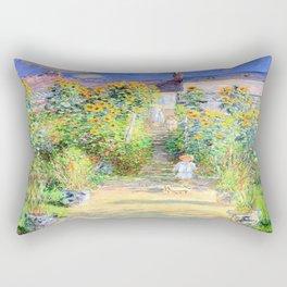 Monets Garden at Vetheuil Rectangular Pillow
