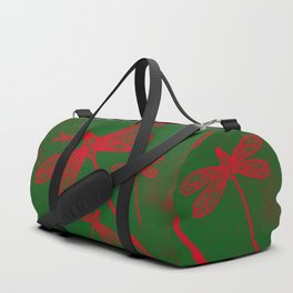 Red embroidered dragonflies on green textured background Duffle Bag