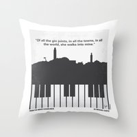 casablanca Throw Pillows featuring No192 My Casablanca minimal movie poster by Chungkong