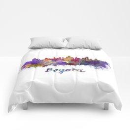 Bogota skyline in watercolor Comforters