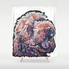 Labradoodle Doodle Dog Portrait bright colorful Pop Art Paintin by LEA Shower Curtain