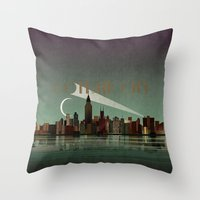 gotham Throw Pillows featuring Gotham City by WyattDesign