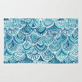 SPLASH Blue Watercolor Mermaid Scales Rug