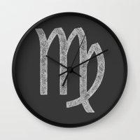 virgo Wall Clocks featuring Virgo by David Zydd