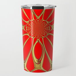 Modernistic Red-Gold Metallic Floral Web Art Design Travel Mug