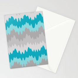 Teal Turquoise Blue Grey Gray Chevron Ombre Fade Zigzag Stationery Cards