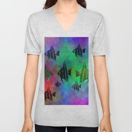 fishs in colors Unisex V-Neck