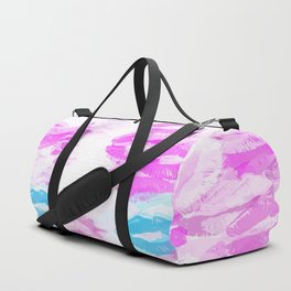 kisses lipstick pattern abstract background in pink and blue Duffle Bag