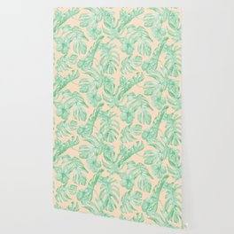 Tropical Monstera and Palm Party II Wallpaper