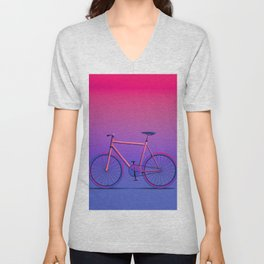 Bicycle Magenta/Blue Unisex V-Neck