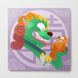 Silly Bestiary : Miss Fu Dog Metal Print
